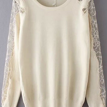 Apricot Long Sleeve Knitwear with Mesh Accent