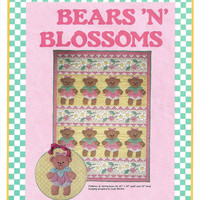 Bears 'N Blossoms Quilt Pattern & Hoop Hanging from Leman Publications, From 1984, UNCUT, Basic Quilt Lesson, Vintage Pattern, Home Quilting