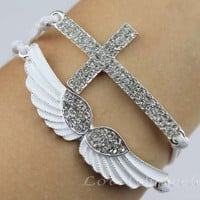 Diamond bracelet/the wings of the angel bracelet/cross bracelet, fashionable women bracelet, the maid of honor, a birthday present
