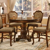"""Acme 04082-84 Chateau de ville cherry brown finish wood 48"""" round counter height dining table set"""