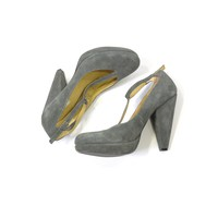 Urban Outfitters Gray Pumps | Kimichi Blue Suede T-strap Pumps Gray Platforms | Gray Suede Heels