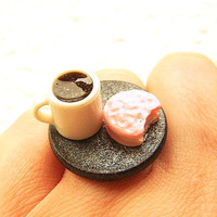Kawaii Cute Japanese Ring Coffee And A Cookie by SouZouCreations