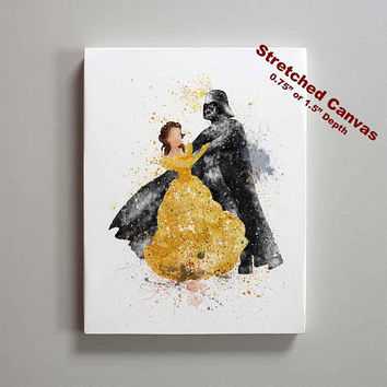 Star Wars Darth Vader and Belle Beauty and the Beast Stretched Canvas Print
