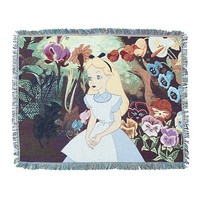 Disney Alice In Wonderland Alice In Garden Woven Tapestry Throw