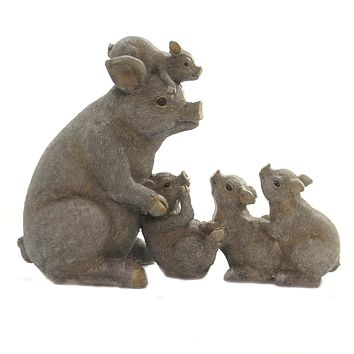 Home Decor PIG FAMILY Polyresin Piglet Swine 74661