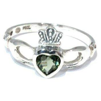 Faceted Moldavite Claddagh Ring Irish Heart Sizes 4-12 Sterling Silver Jewelry