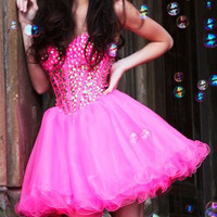 Hot Pink Strapless Crystal Embellished Tulle Homecoming Dress