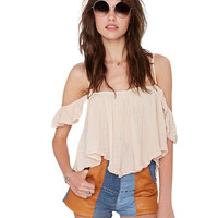 Off-shoulder Spaghetti Strap Ruched Cropped Top
