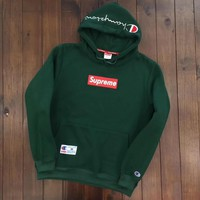 Champion X Supreme Trending Women Men Casual Embroidery Long Sleeve Top Sweater Pullover Hoodie Green