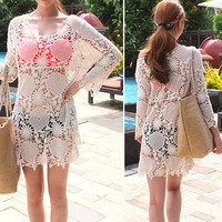 Long Sleeve Crochet Beach Cover Up Knitted Top