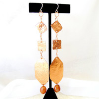 Extra long earrings, hammered copper dangles, modern metal jewelry, gift under 40