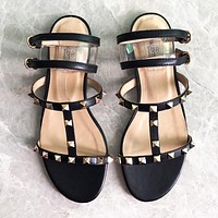 Valentino Summer Trending Women Casual Rivet Flat Sandals Slippers Shoes Black