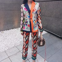 """Gucci"" Women Ethnic Retro Multicolor Flower Print Tailored Collar Long Sleeve Cardigan Wide Leg Pants Set Two-Piece Sportswear"