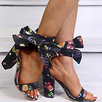 Fashion women's sandals, bow tie, European and American thick heel high heels