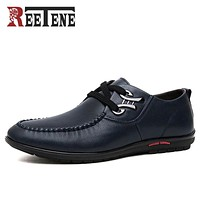 REETENE Brand Fashion Men Casual Shoes High Quality PU Leather Shoes Men Breathable Flat With Men Shoes Driving Shoes