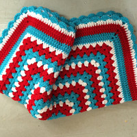 Blanket, Blue Red and White, Dr Suess Colors, Baby, Crochet Blanket, Newborn, Layering Blanket, Mini Blanket, Wrap, Baby Wrap