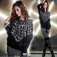 Fashion Women's Batwing Long Sleeve Leopard Print Casual Top Loose Blouse Shirts VVF = 1945672324