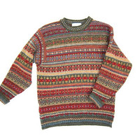 Wool Knit HARVEST Sweater 90s Pure Wool Knit Pullover Sweater Red Green Blue Patterned Preppy Boho Sweater Fall Sweater Womens Small Medium