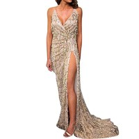 iShine Women's Sexy Deep V Neck High Split Sequined Maxi Dress Gauze Mermaid Tassels Sequin Sleeveless Evening Club Cocktail Party Dress