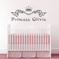 Wall Decal Name Girls Vinyl Sticker Personalized Custom Decals Art Home Decor Mural Wall Decals Nursery Baby Crown Princess Name Girls AN335