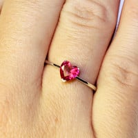 Ruby Heart Promise Ring – Cubic Zirconia Red on hand