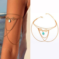3 Colors Body Jewelry Hollow Auspicious Turquoise Drop Pendant Tassel Arm Chain Bracelet For Choosing Body-0254