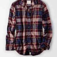 AEO Plaid Boyfriend Shirt, Purple