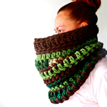 The Chunkiest Cowl Ever. Earth Tones. One of a kind Circle Scarf. Ready to Ship.