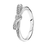 Size 7  Rings Compatible Fit Pandora Jewelry Sparkling bow,  cz Size #6-10 New  925 Sterling  European Women YG200