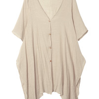 Literary Wind Women Half Sleeve Thin Mid-Length Solid Color Cotton Cardigan
