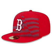 MLB Boston Red Sox 2015 AC July 4th Stars and Stripes 59FIFTY Fitted Cap, Red, 7 3/8