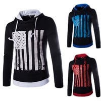 Mens Faded American Flag Graphic Sweater