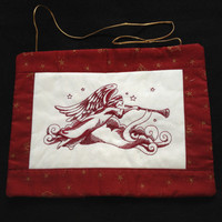 Christmas Angel Wall Hanging embroidery. Burgundy, cream and gold.
