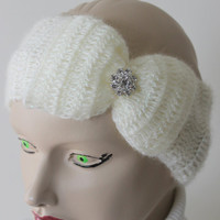 Crocheted Cream Headband With Big Bow and Crystal Button / Ear Warmer / Ready to Shipping / Women Accessories / Turban / Gift for Her