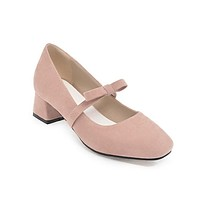 Sweet Bow Square Head Size 33-43 Women's Pumps Middle Heels Shoes