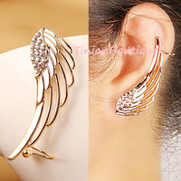 Hot New Noble Luxury Gorgeous Rhinestone Wings Charming Personalized Ear Cuff Clip Earrings For Women