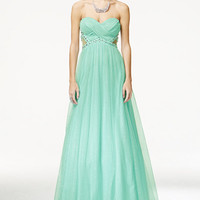 City Studios Juniors' Jeweled Illusion Strapless Gown - Juniors Shop All Prom Dresses - Macy's