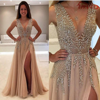Special Champagne Prom Dresses 2017 Sleeveless V-Neck Floor-Length Slit Long Prom Dress Silver Applique Crystal Prom Gown PD143