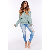 Tuscan Sun Off the Shoulder Ruffled Top (Sage)