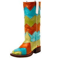 Kid's Macie Bean Chevron Turquoise/Kiwi/Orange Cowgirl Boots