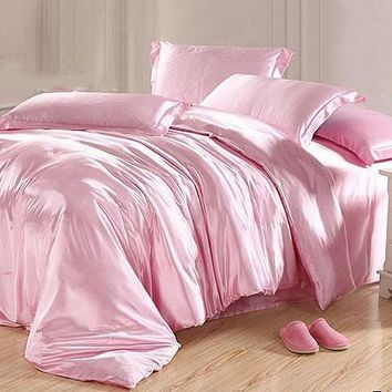 Skin Care Plain Luxury 4-Piece Pink Silky Bedding Sets/Duvet Cover
