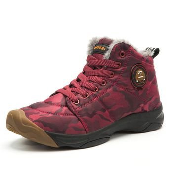 Winter Ankle Boots Men Christmas Snow Shoes Waterproof Hiking Sneakers Warm Trainers Anti Skid