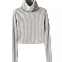 Vintage Sexy Turtleneck Short Jumper Pullovers kleding jerseis mujer pull femme Knitted Sweaters Knitwear Light gray Dark gray
