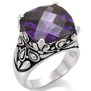Vintage Rings TK016 Stainless Steel Ring with AAA Grade CZ in Amethyst