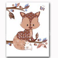 Nursery art woodland wall decor fox poster kids room baby boy room decoration blue brown playroom artwork animal print toddler shower gift