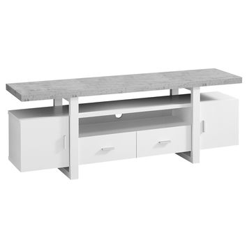 """Tv Stand - 60""""L / White / Cement-Look Top"""