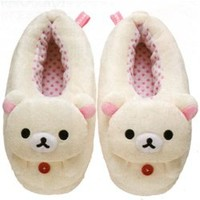 San-X Rilakkuma Adult M Plushy Indoor Slippers: Little Bear