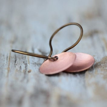 CLEARANCE - Copper Drop Earrings - Hand Cut and Hammered - Organic Shape - Bohemian Chic - Boho - Simple Jewelry