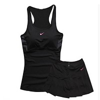 NIKE Gym Sport Yoga Embroidery Top Cami Shorts Set Two-Piece Sportswear