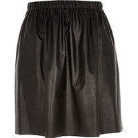 River Island Womens Black leather-look ruched skirt